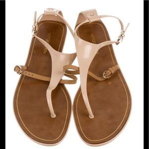 SERGIO ROSSI beige patent leather sandals size 41